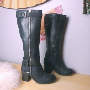 Tall Moto Style Leather Boots